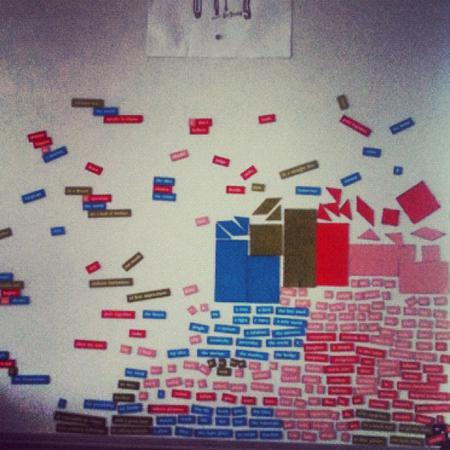 Magnetic poetry.