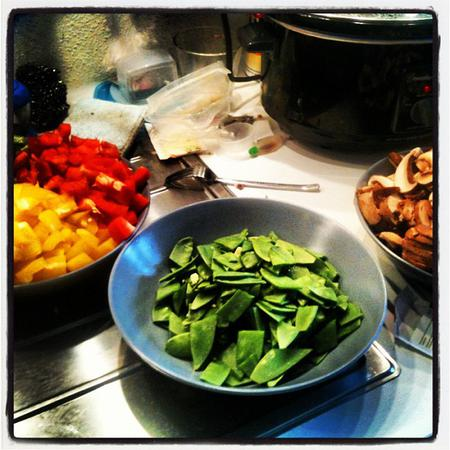 Chopping veggies for freezer meals.