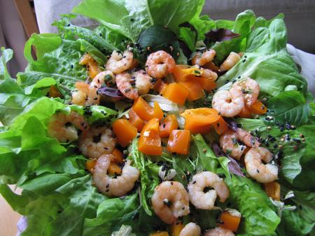 Salad with shrimp.