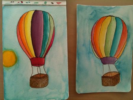 Drawing hot air balloons.