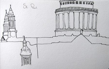 Drawing St. Paul from Tate Modern