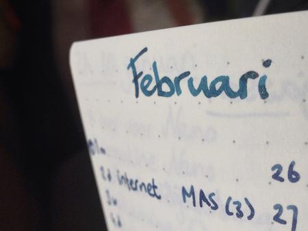 'februari' written with glittery ink